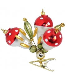 "Beaded Mushrooms Clipping Ornament ~ 2-1/2"" ~ Czech Republic"