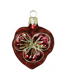 "Petite Blown Glass Burgundy Pansy Ornament ~ Czech Republic ~ 2"" tall"