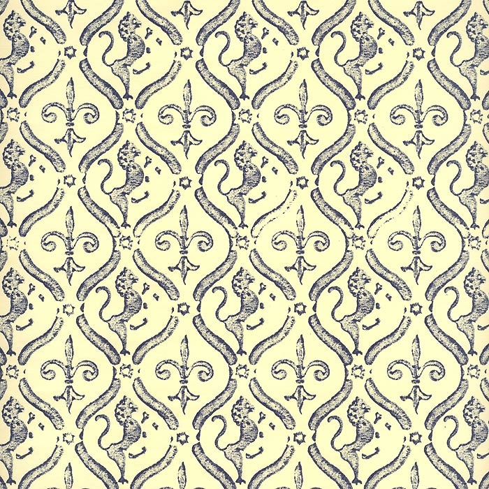 Blue Stamped Griffin and Lily Print Italian Paper ~ Carta Varese Italy