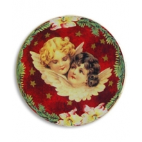 Christmas Angels Botanical Papier Mache Ball Box Ornament