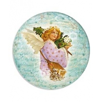 Angel with Tree Papier Mache Ball Box for Filling ~ New for 2012