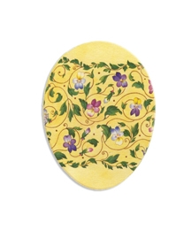 "4 1/2"" Papier Mache Yellow Pansy Easter Egg Container ~ Germany"