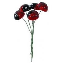5 Large Lacquered Spun Cotton Ladybug Stamen